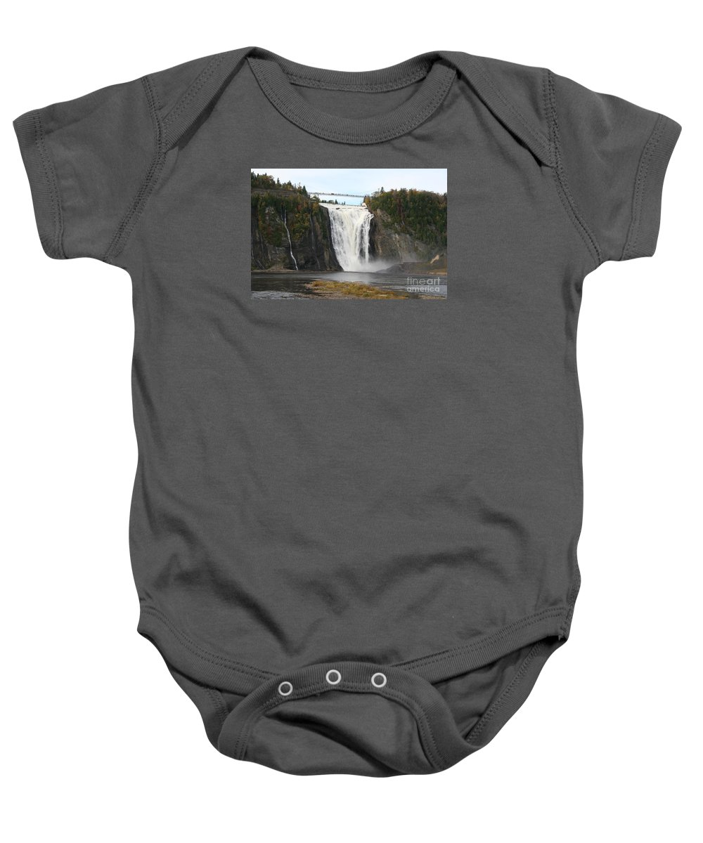 Waterfall Baby Onesie featuring the photograph Montmorency Waterfall - Canada by Christiane Schulze Art And Photography