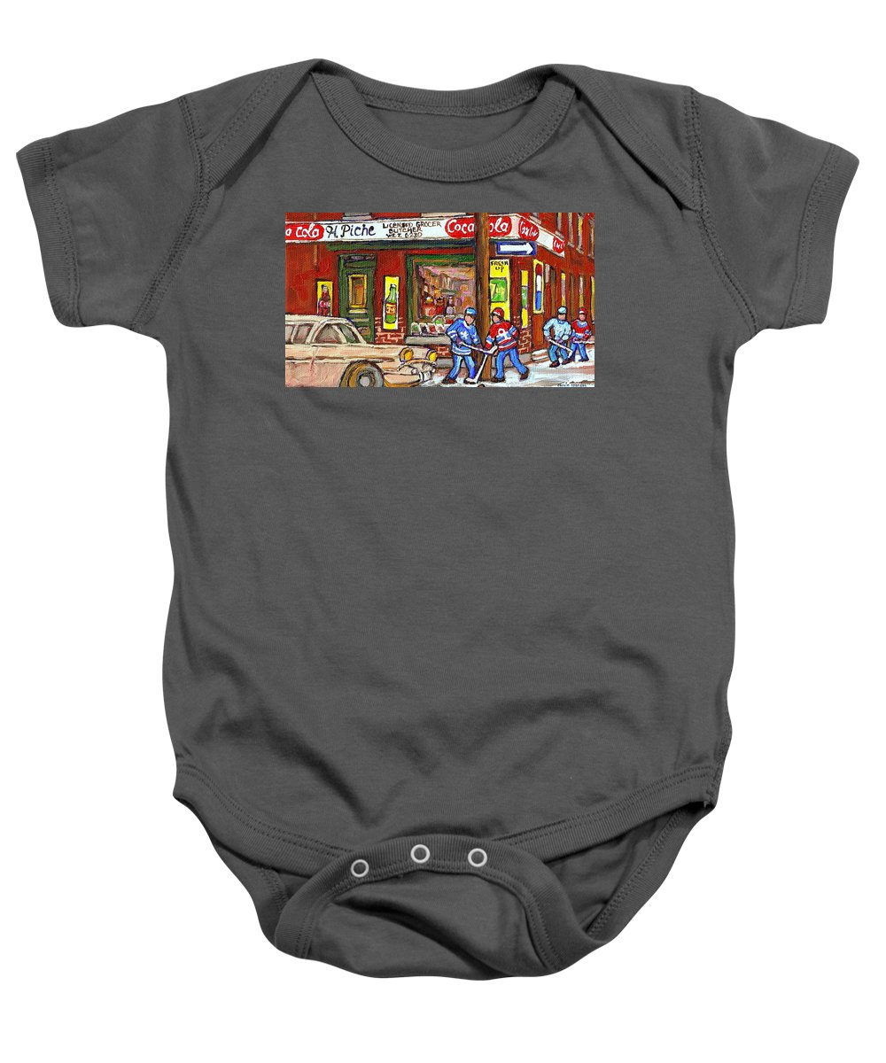 Piche's Corner Grocery Store Baby Onesie featuring the painting Montreal Hockey Paintings At The Corner Depanneur - Piche's Grocery Goosevillage Psc Griffintown by Carole Spandau