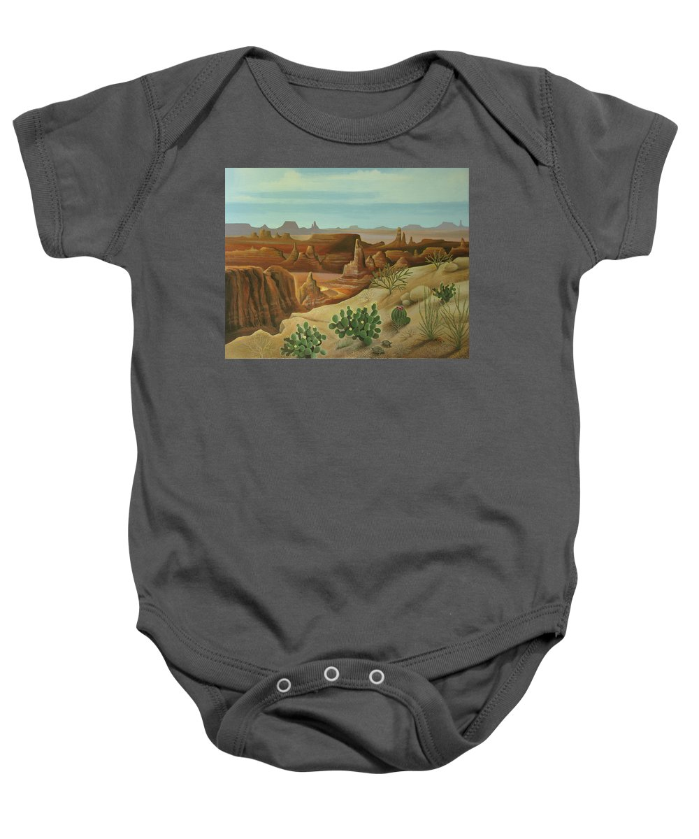 Desert Landscape Baby Onesie featuring the painting Monument Valley by Stuart Swartz