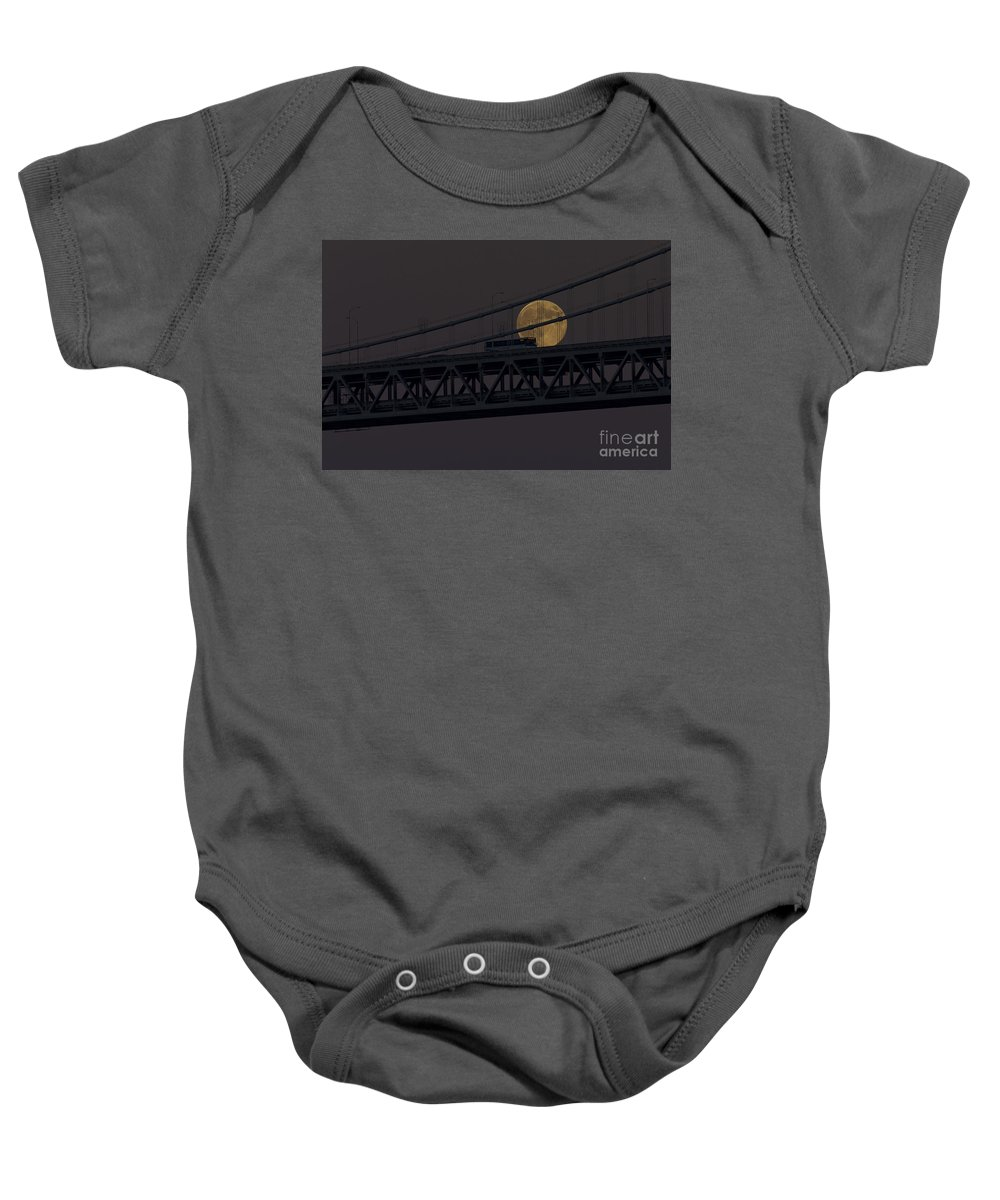 Kate Brown Baby Onesie featuring the photograph Moon Bridge Bus by Kate Brown