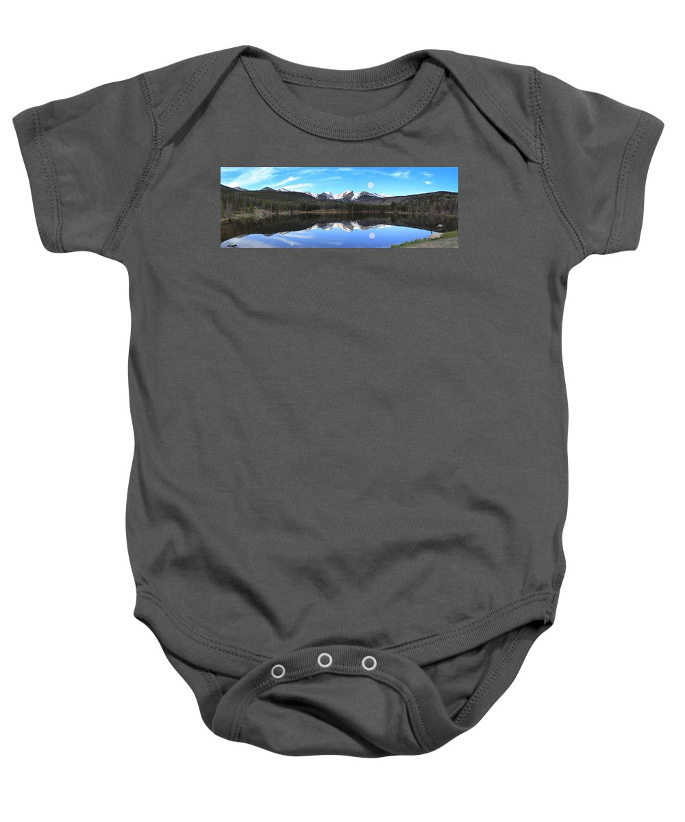 Sprague Lake Baby Onesie featuring the photograph Moon Over Sprague Lake by Shane Bechler