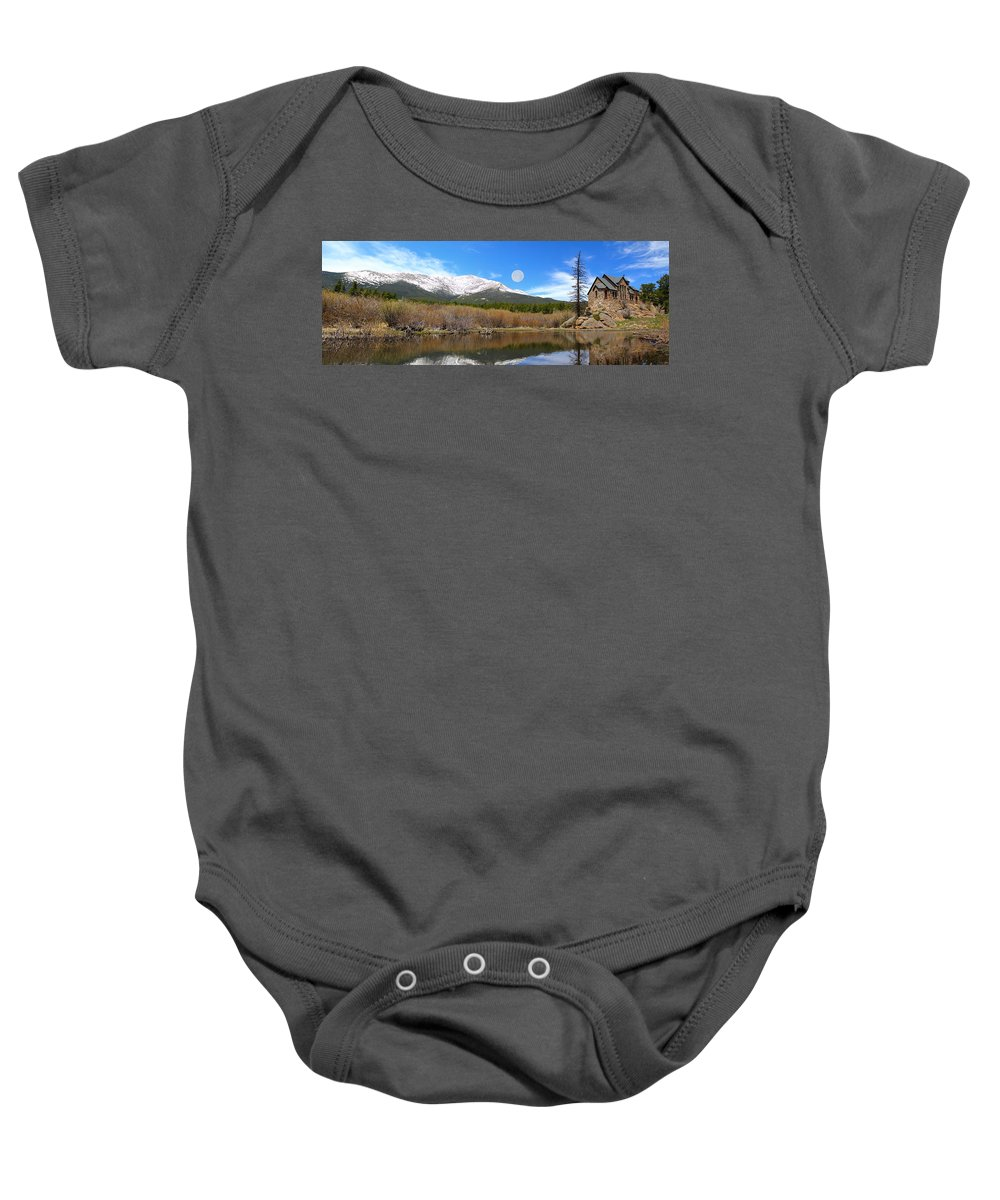St. Malo Baby Onesie featuring the photograph Moon Over St. Malo by Shane Bechler