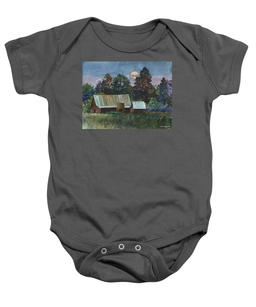 Moonlight Painting Baby Onesie featuring the painting Moonlight over Caribou by Anne Gifford