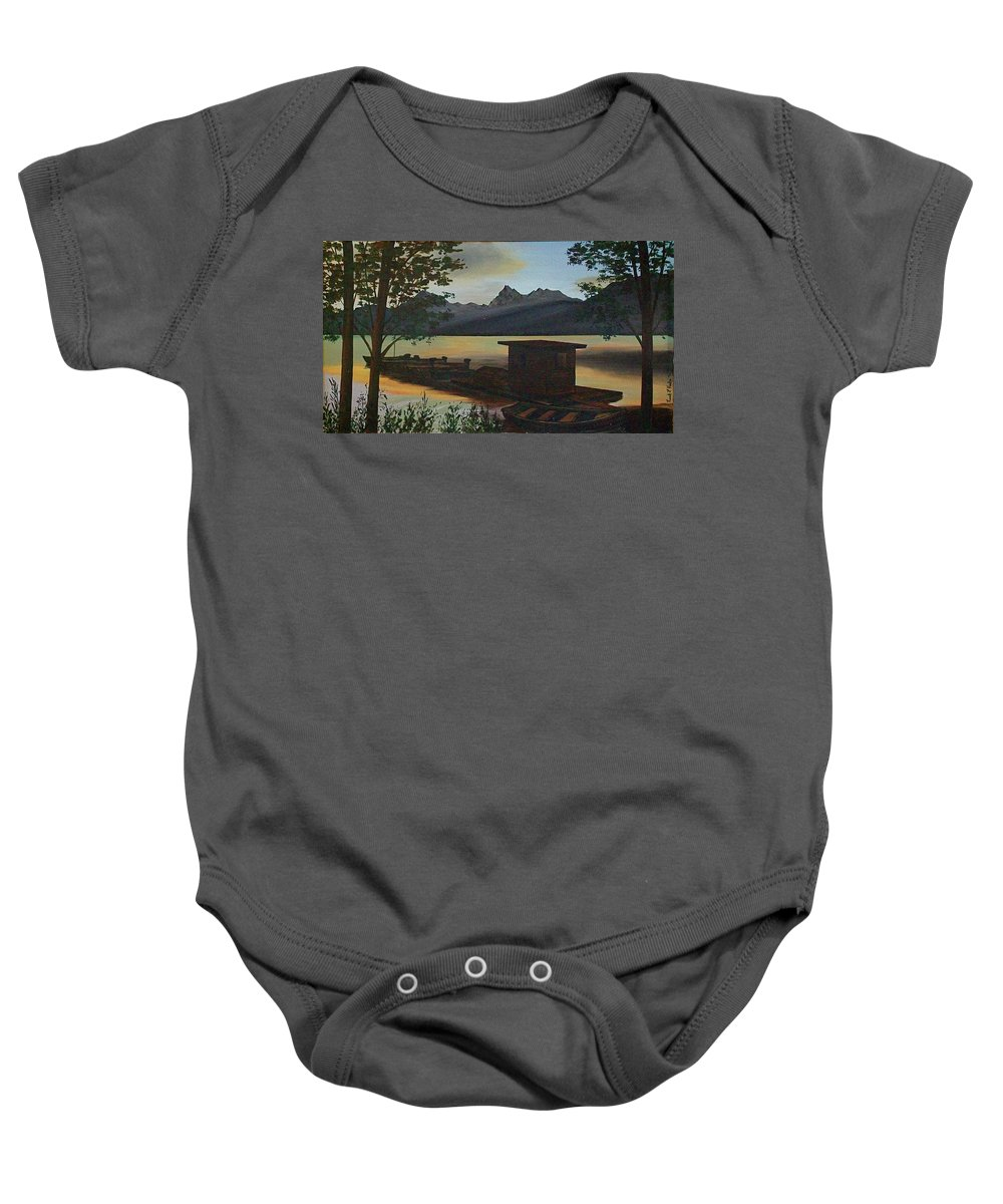 Boats Mountain Peaks Morning Sun Rays Baby Onesie featuring the painting Morning At Lake Mcdonald Glacier Park by Frank Hunter