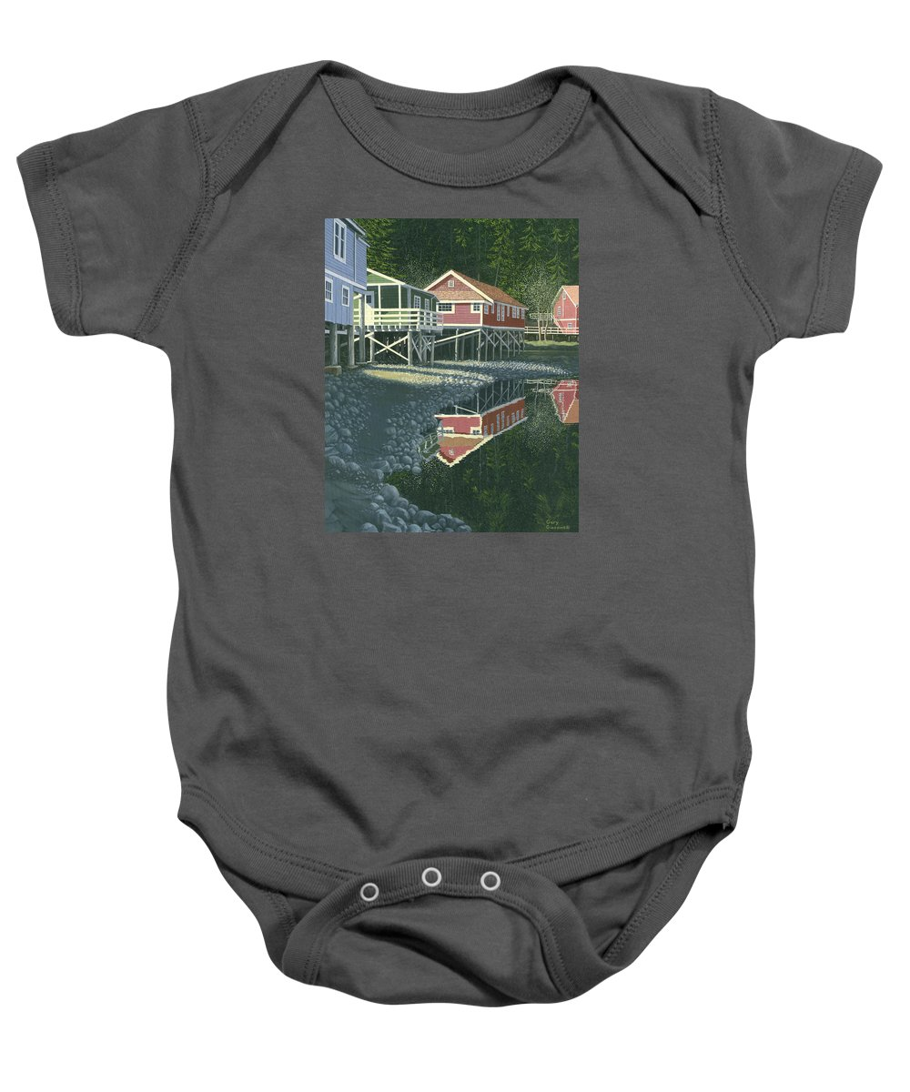 Landscape Baby Onesie featuring the painting Morning At Telegraph Cove by Gary Giacomelli