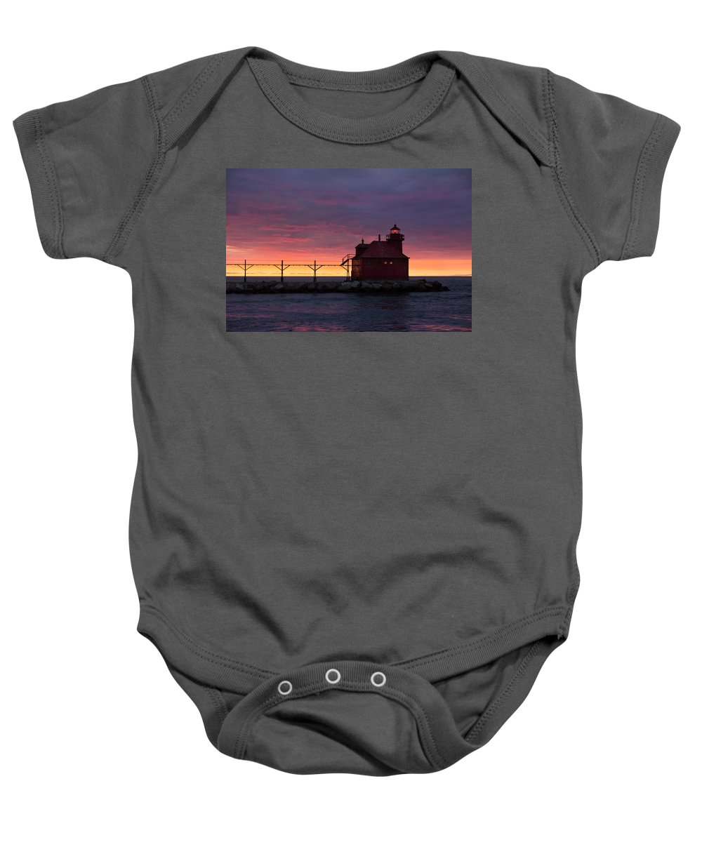 Lighthouse Baby Onesie featuring the photograph Morning Blush by Bill Pevlor