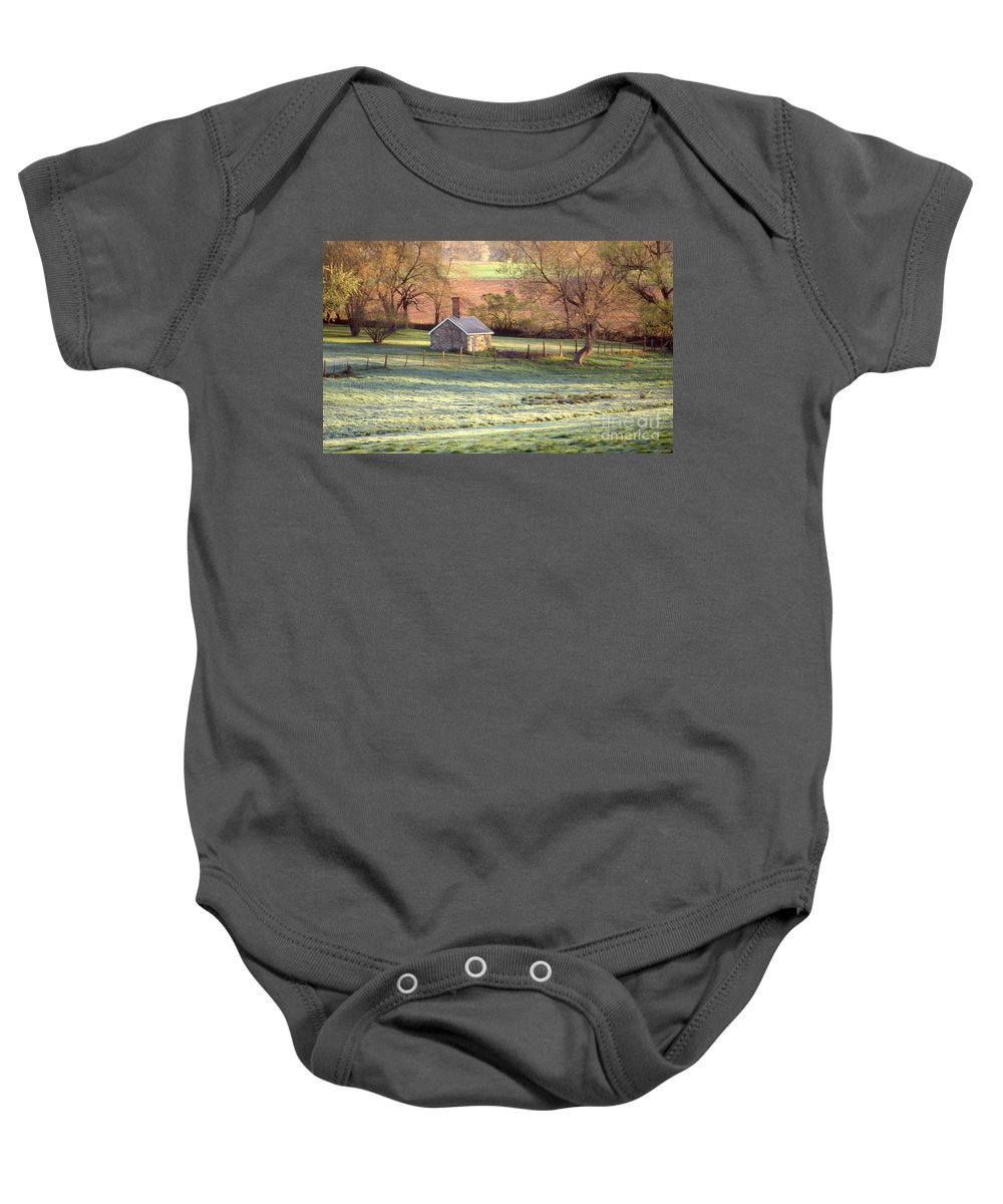 Scenic Tours Baby Onesie featuring the photograph Morning Frost by Skip Willits