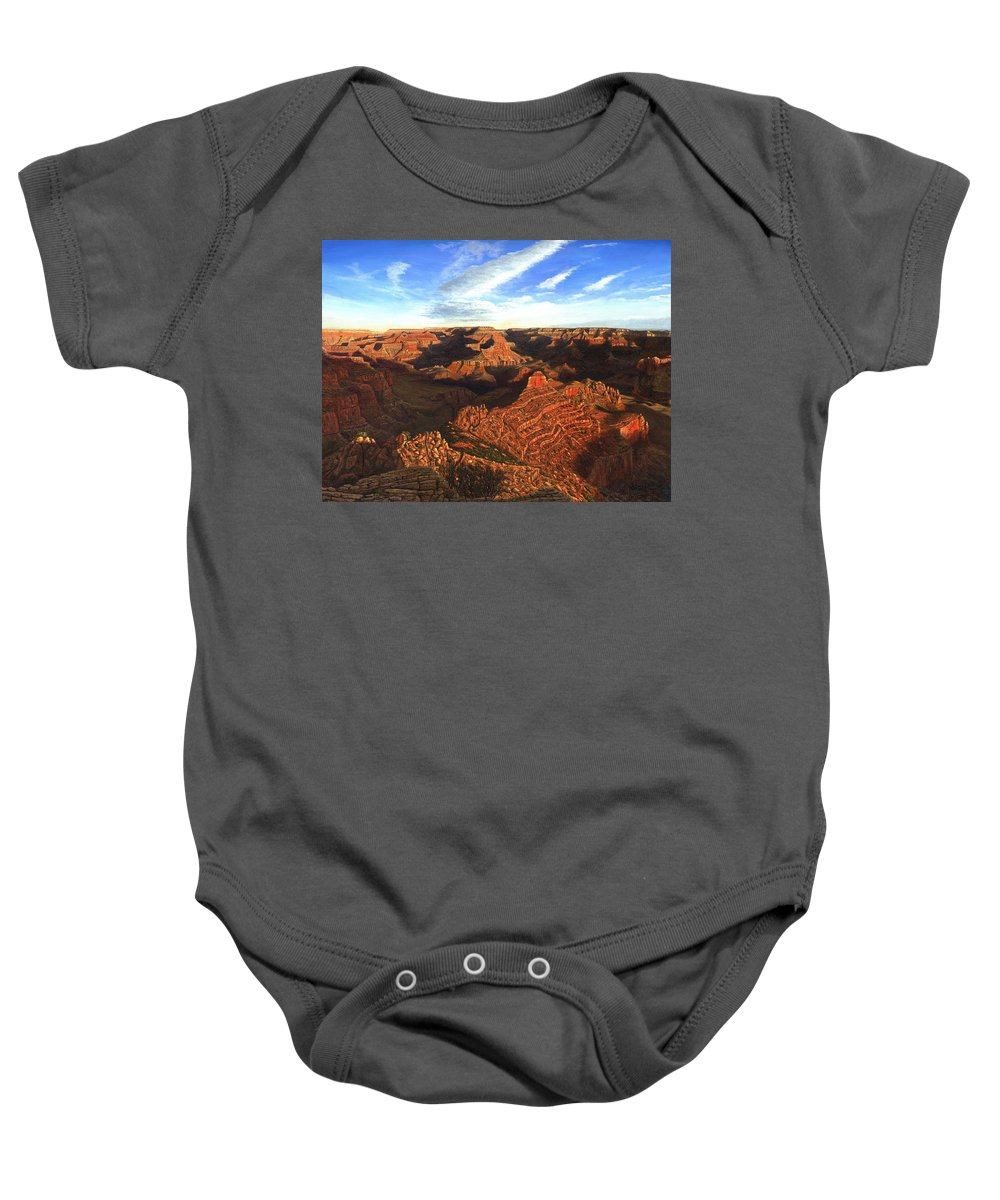 Grand Canyon Baby Onesie featuring the painting Morning Glory - The Grand Canyon From Kaibab Trail by Richard Harpum