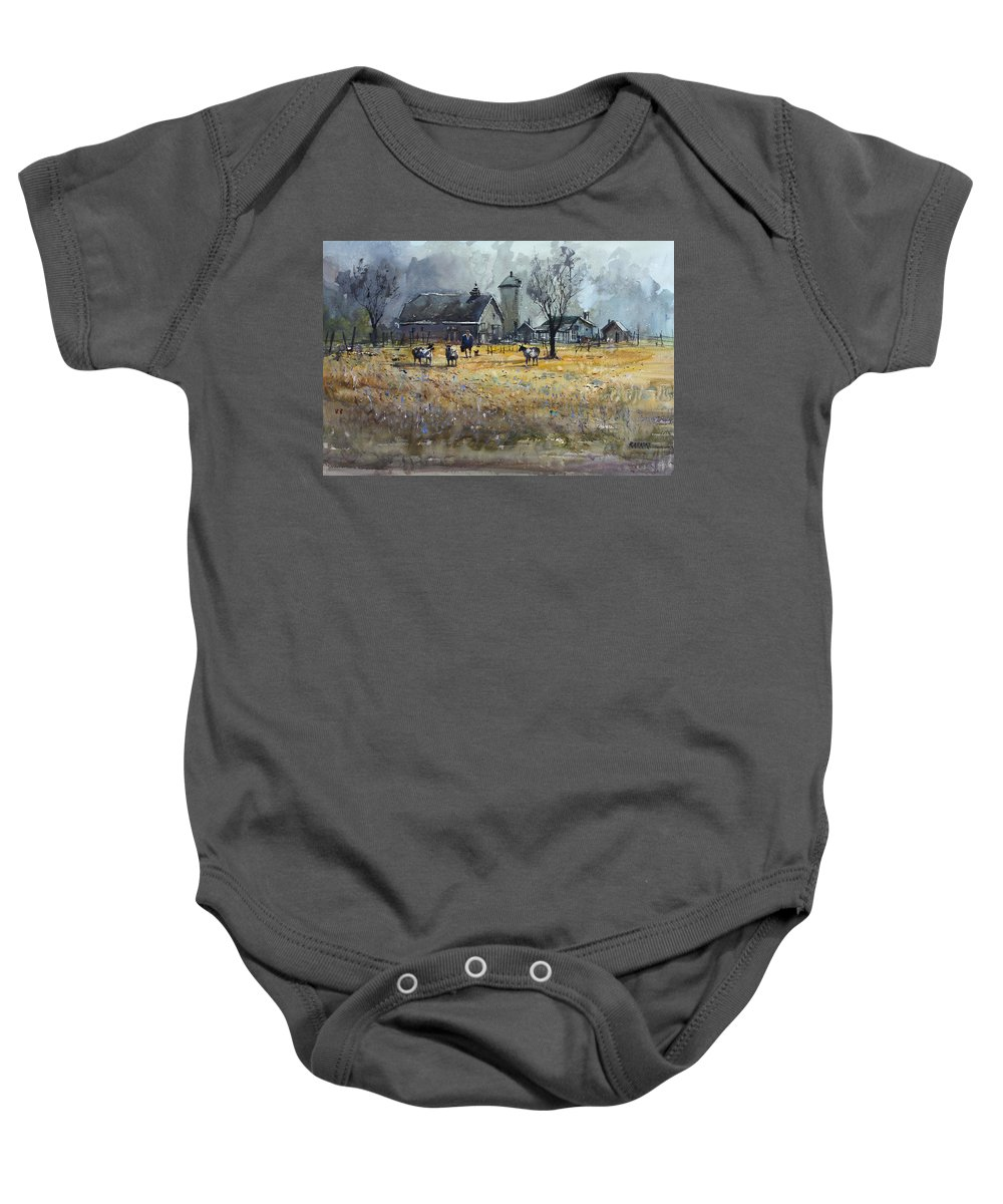 Ryan Radke Baby Onesie featuring the painting Morning On The Farm by Ryan Radke