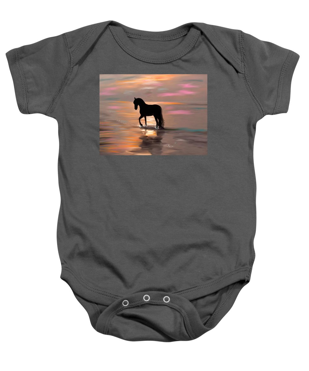 Ocean Baby Onesie featuring the painting Morning Stroll On The Beach by Angela Stanton