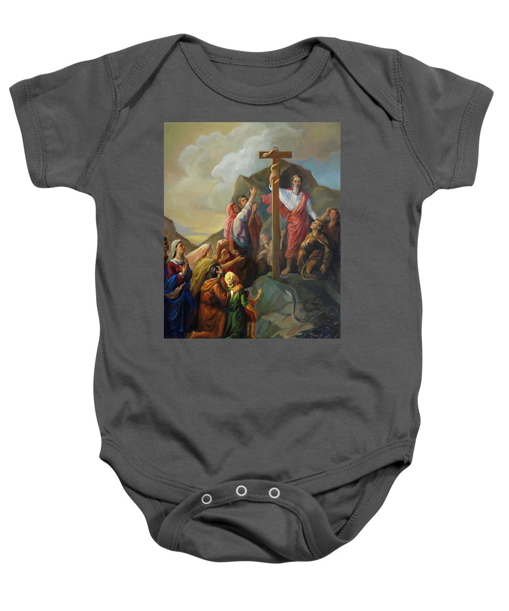 Moses Baby Onesie featuring the painting Moses And The Brazen Serpent - Biblical Stories by Svitozar Nenyuk