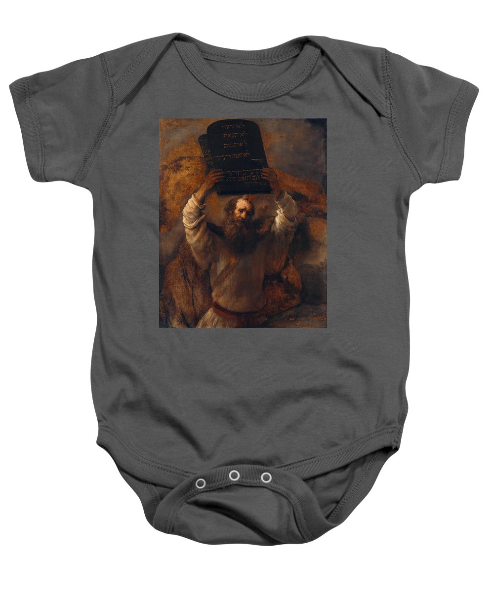 1659 Baby Onesie featuring the painting Moses With The Ten Commandments by Rembrandt van Rijn