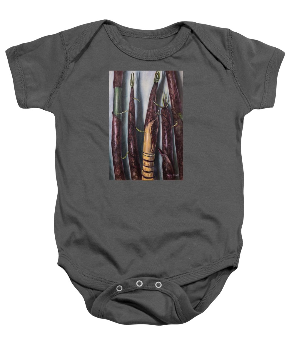 Bamboo Baby Onesie featuring the painting Moso Bamboo by Randy Burns