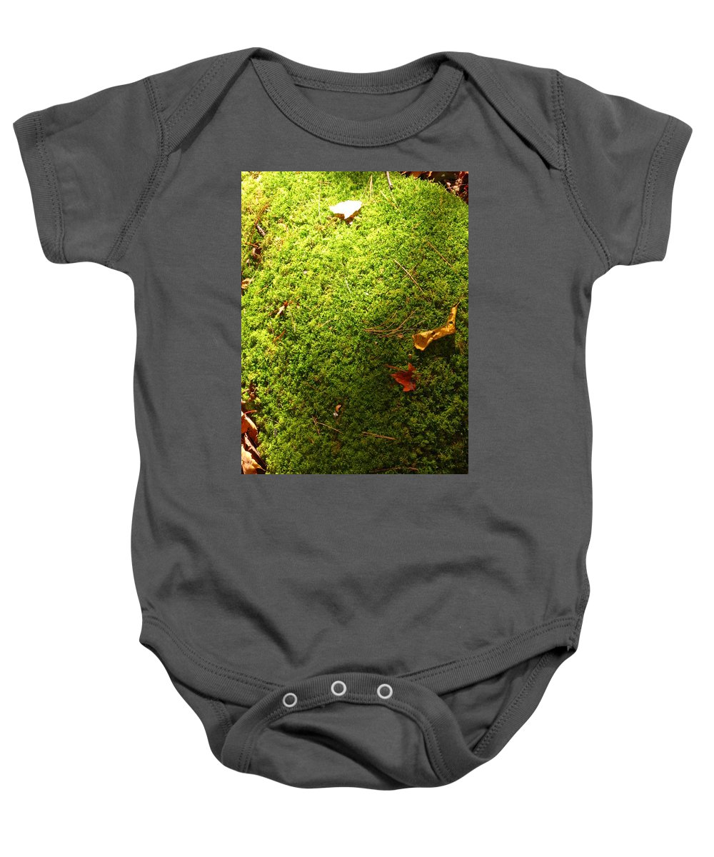 Bill Tomsa Baby Onesie featuring the photograph Moss And Leaves by Bill Tomsa