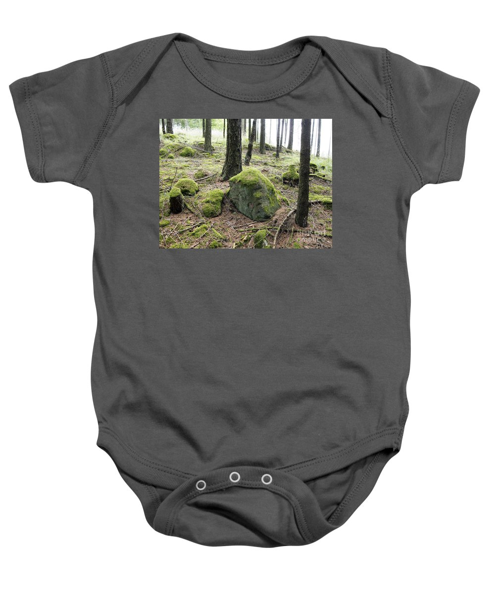 Rock Baby Onesie featuring the photograph Moss-covered Boulder by Michal Boubin