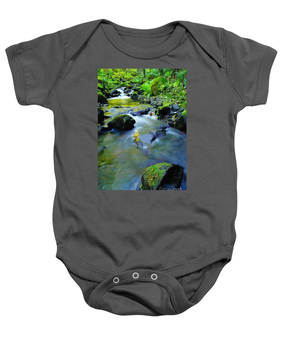 Water Baby Onesie featuring the photograph Mossy Rocks And Moving Water by Jeff Swan