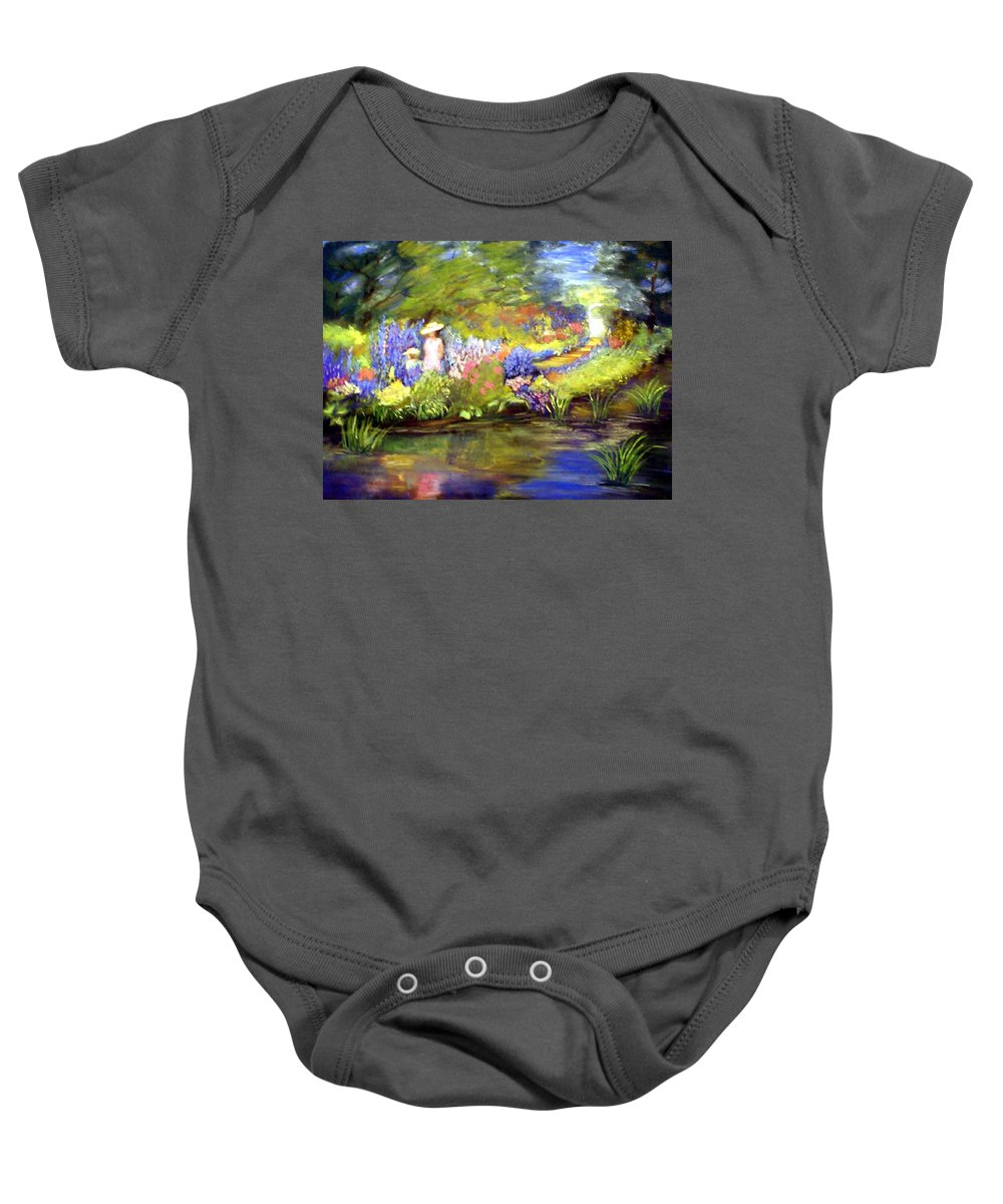 Flower Garden Baby Onesie featuring the painting Mother And Daughter by Gail Kirtz