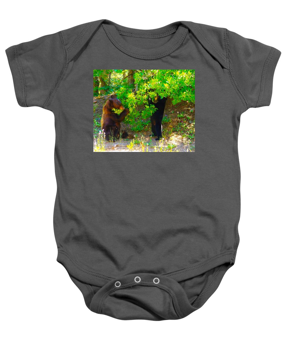 Animals Baby Onesie featuring the photograph Mother Bear And Cub by Jeff Swan