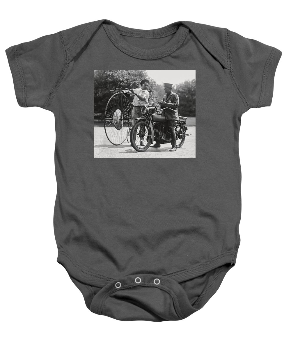 Motorcycle Baby Onesie featuring the photograph Motorcycle And Velocipede - 1921 by Daniel Hagerman