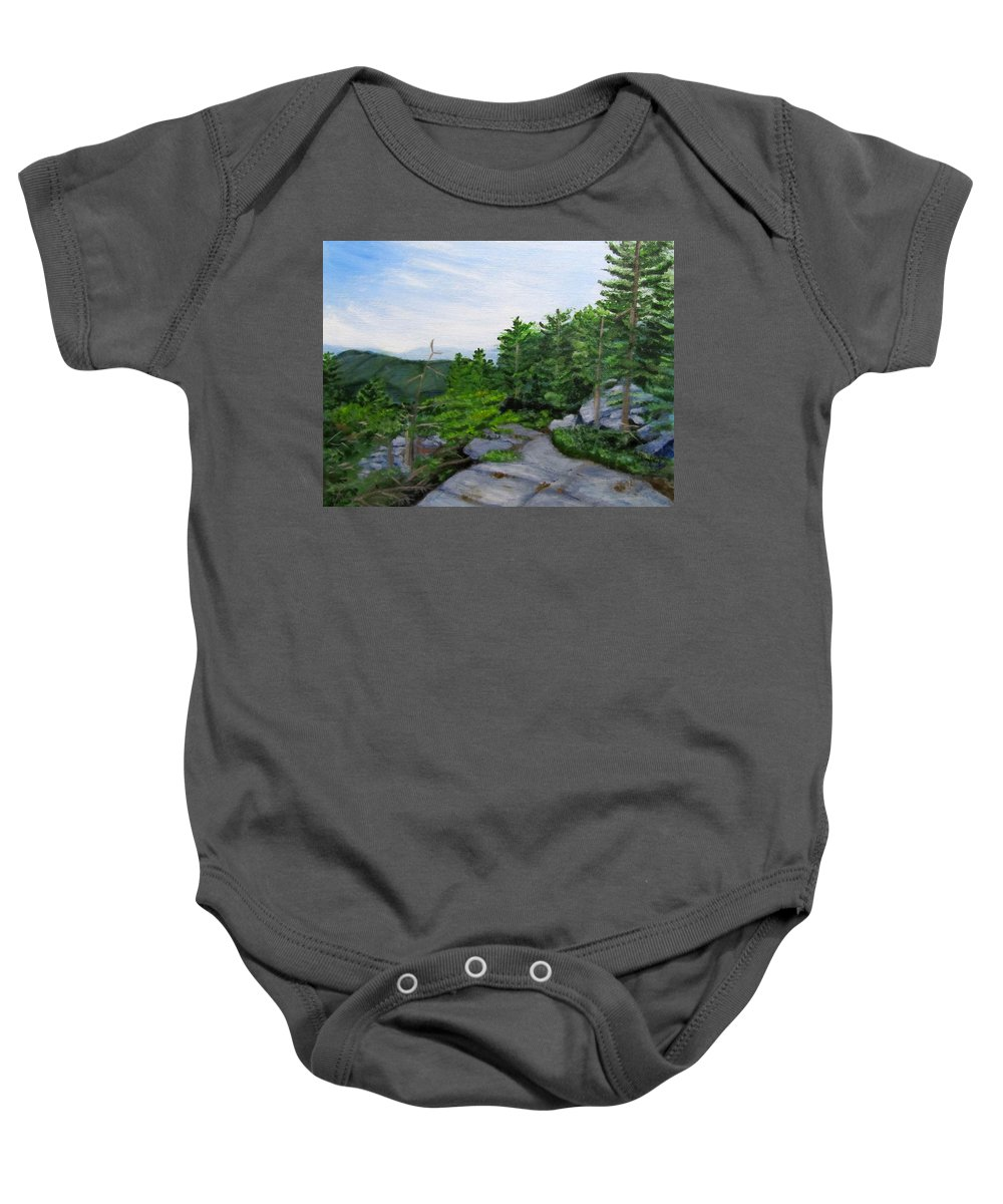Landscape Baby Onesie featuring the painting Mount Morgan Trail by Linda Feinberg