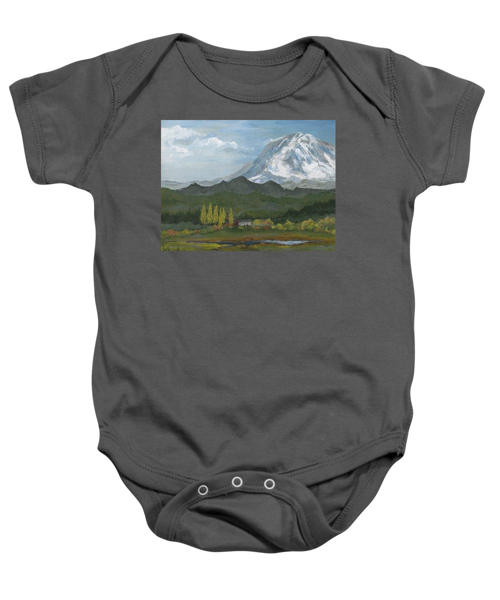 Landscape Baby Onesie featuring the painting Mount Rainier From Lake Rap John by Carlene Salazar