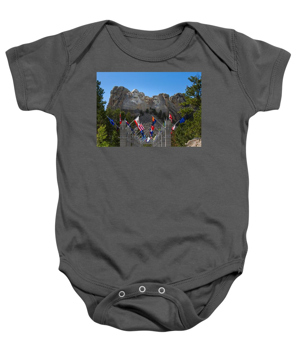 Landscape Baby Onesie featuring the photograph Mount Rushmore National Memorial by John M Bailey