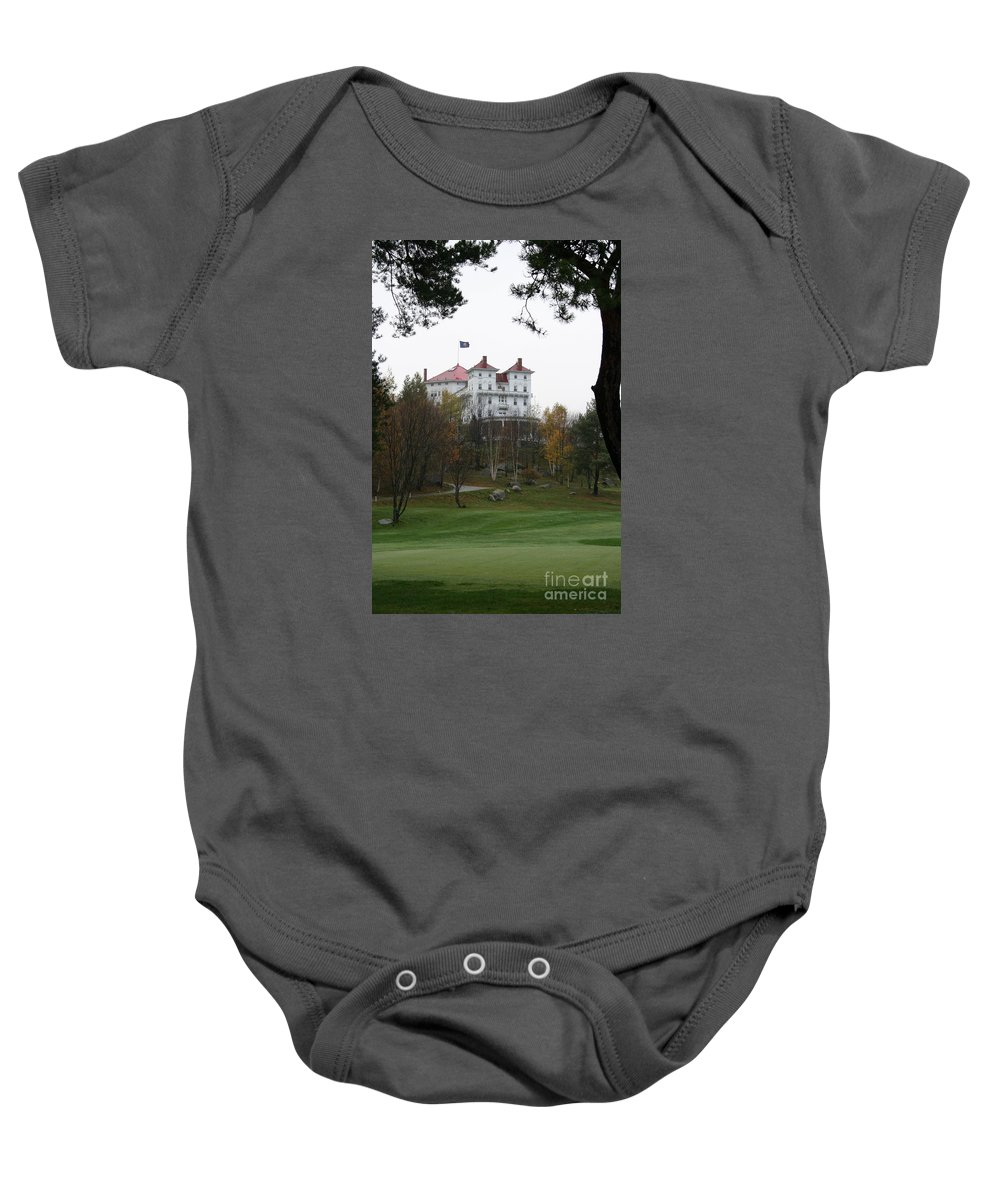 Mount Washington Baby Onesie featuring the photograph Mount Washington Hotel - Bretton Woods by Christiane Schulze Art And Photography