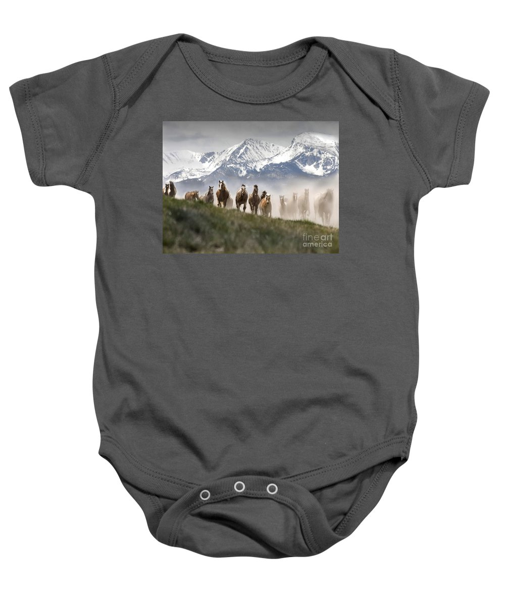 Horses Baby Onesie featuring the photograph Mountain Dust Storm by Wildlife Fine Art