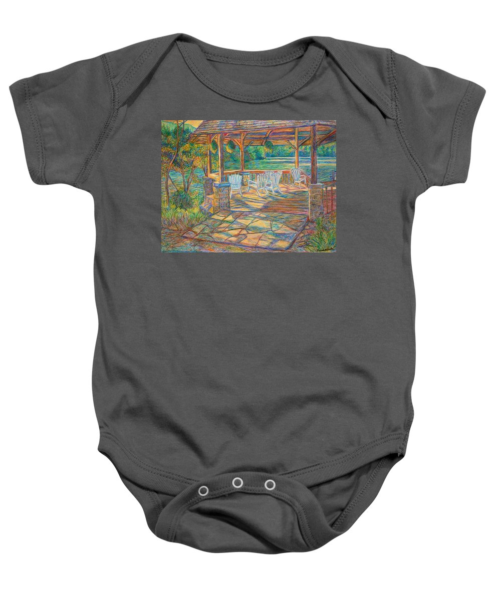 Lake Baby Onesie featuring the painting Mountain Lake Shadows by Kendall Kessler