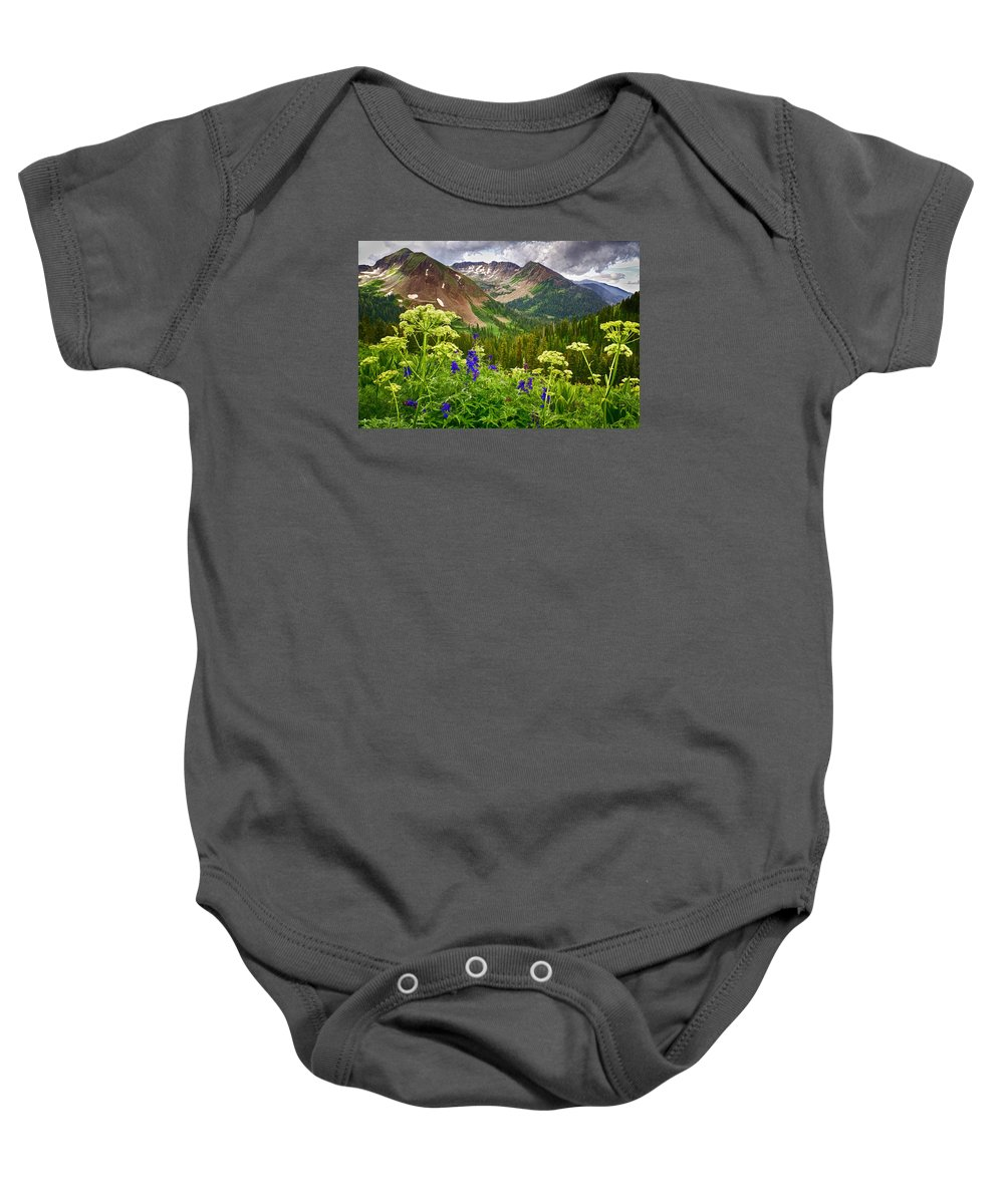 La Plata Mountains Baby Onesie featuring the photograph Mountain Majesty by Priscilla Burgers