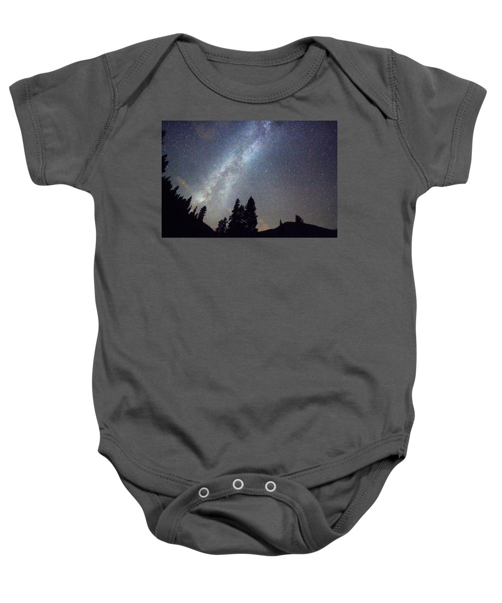 Stars Baby Onesie featuring the photograph Mountain Milky Way Stary Night View by James BO Insogna