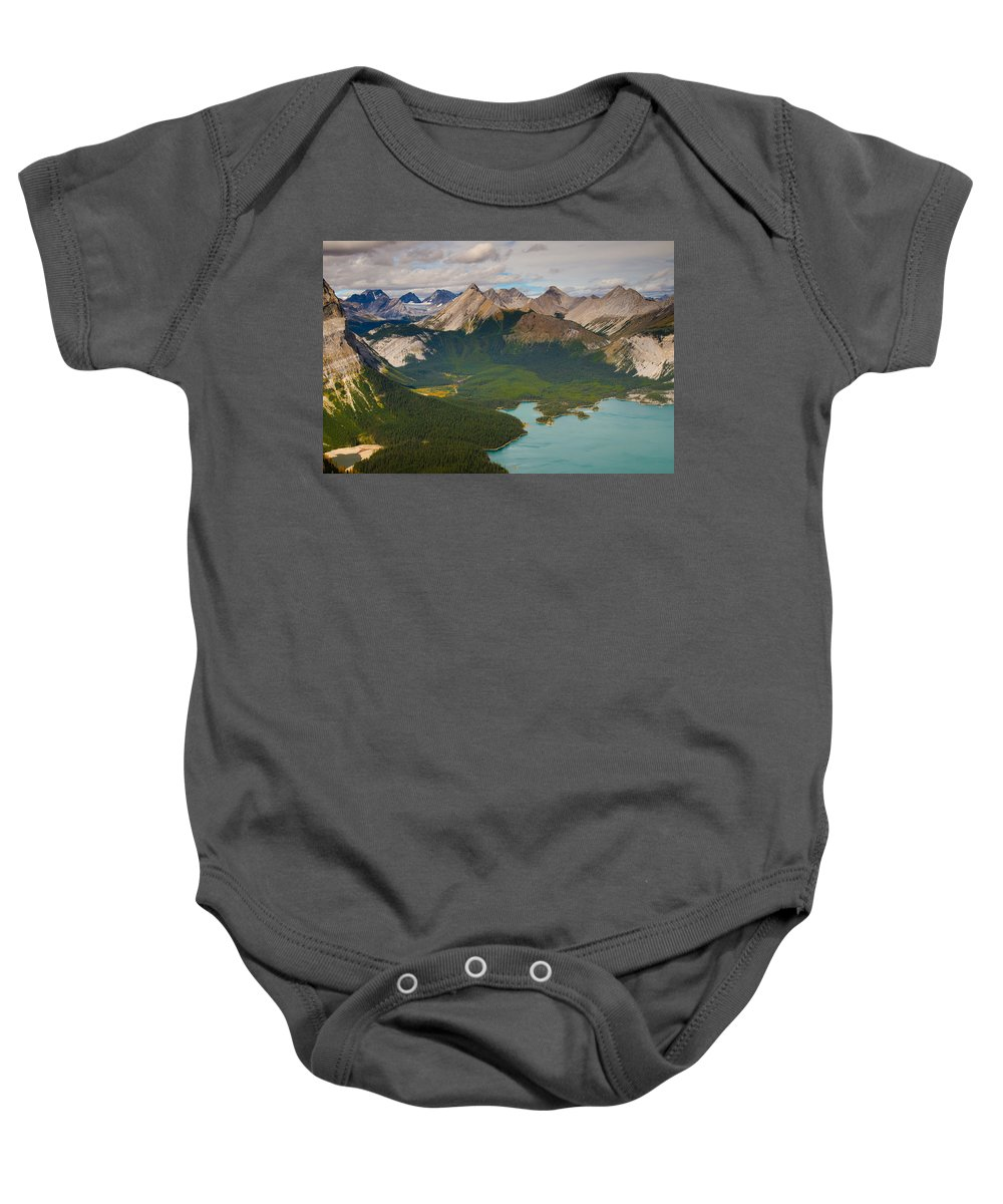 Hiking Baby Onesie featuring the photograph Mountain Peaks And Kananaskis Lakes by Brandon Smith