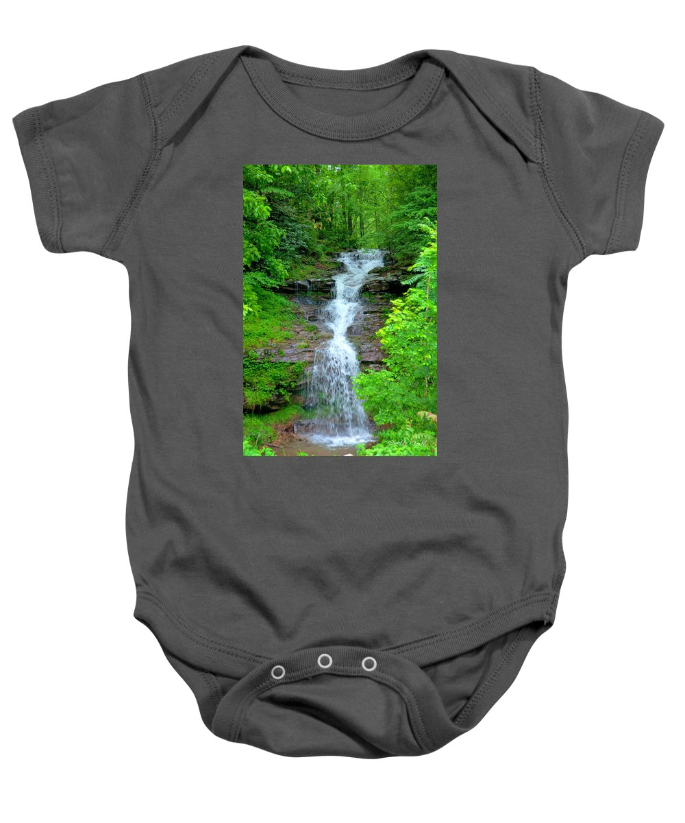 Popular Baby Onesie featuring the photograph Mountain Waterfall I by Paulette B Wright