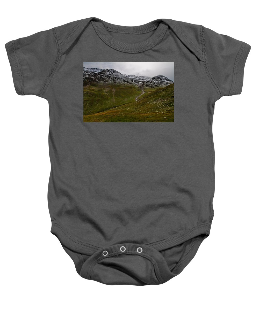 Mountain Baby Onesie featuring the photograph Mountainscape With Snow by Roberto Pagani
