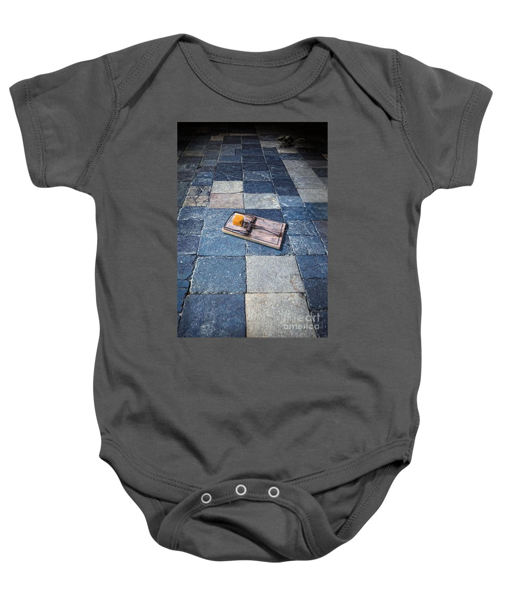 Mouse Baby Onesie featuring the photograph Mouse Trap With Cheese. by Jill Battaglia