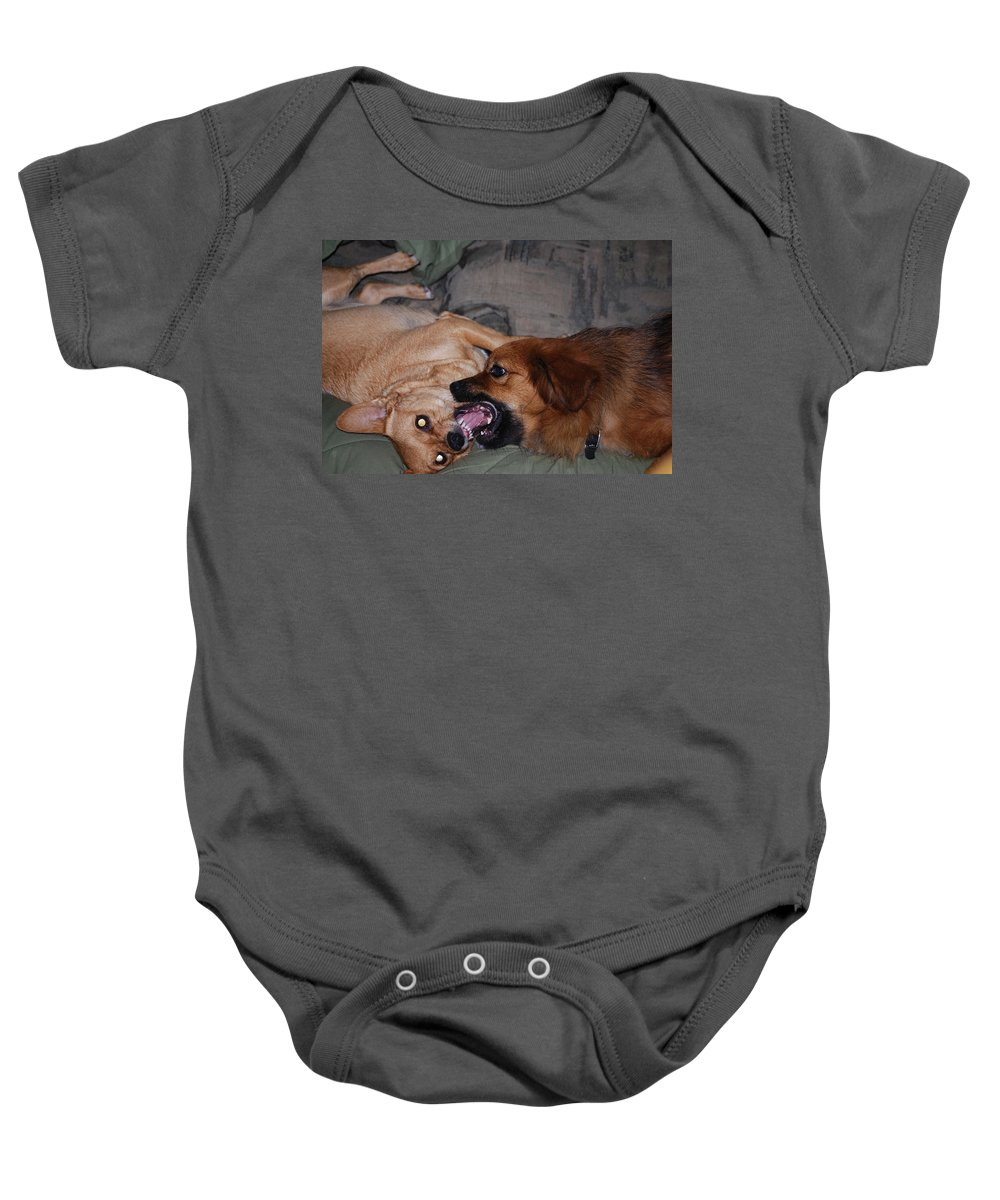 Play Time Baby Onesie featuring the photograph Mouth To Mouth by Robert Floyd