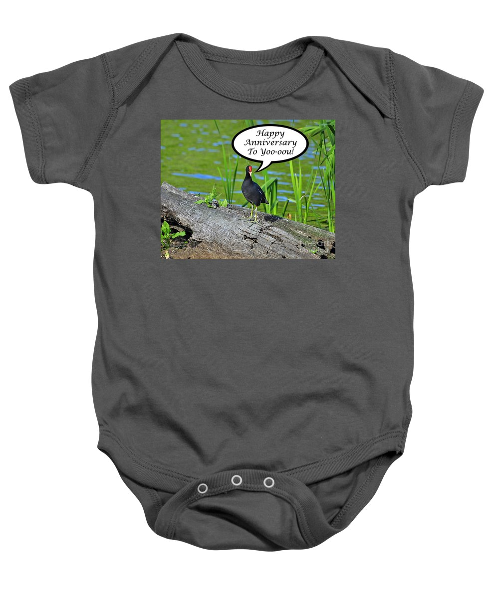 Greeting Card Baby Onesie featuring the photograph Mouthy Moorhen Anniversary Card by Al Powell Photography USA