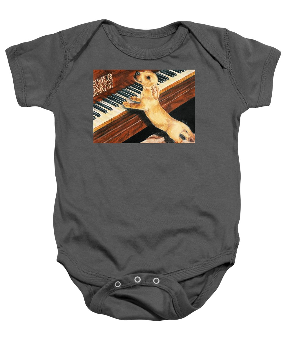 Purebred Dog Baby Onesie featuring the drawing Mozart's Apprentice by Barbara Keith