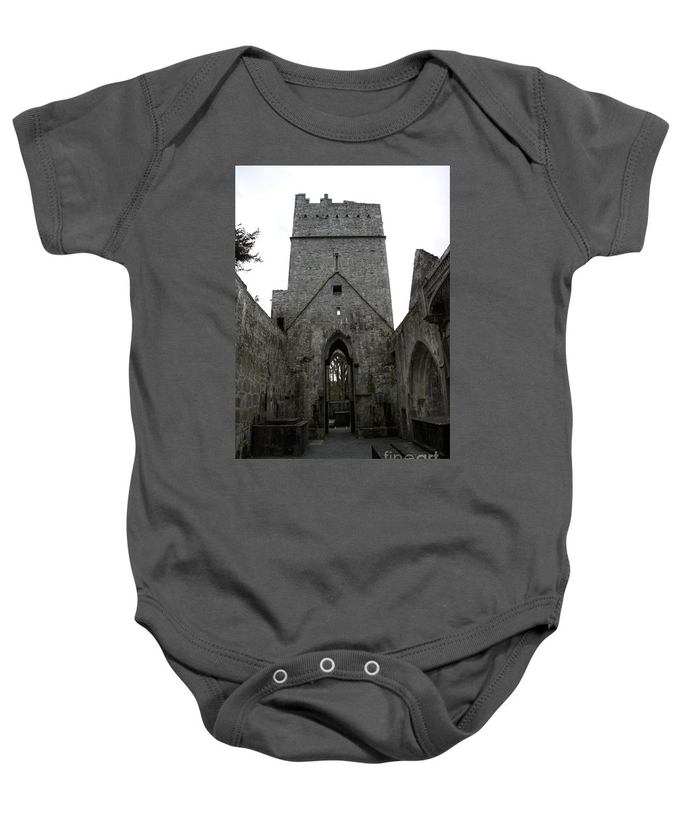 Muckross Abbey Baby Onesie featuring the photograph Muckross Abbey Steeple by Christiane Schulze Art And Photography