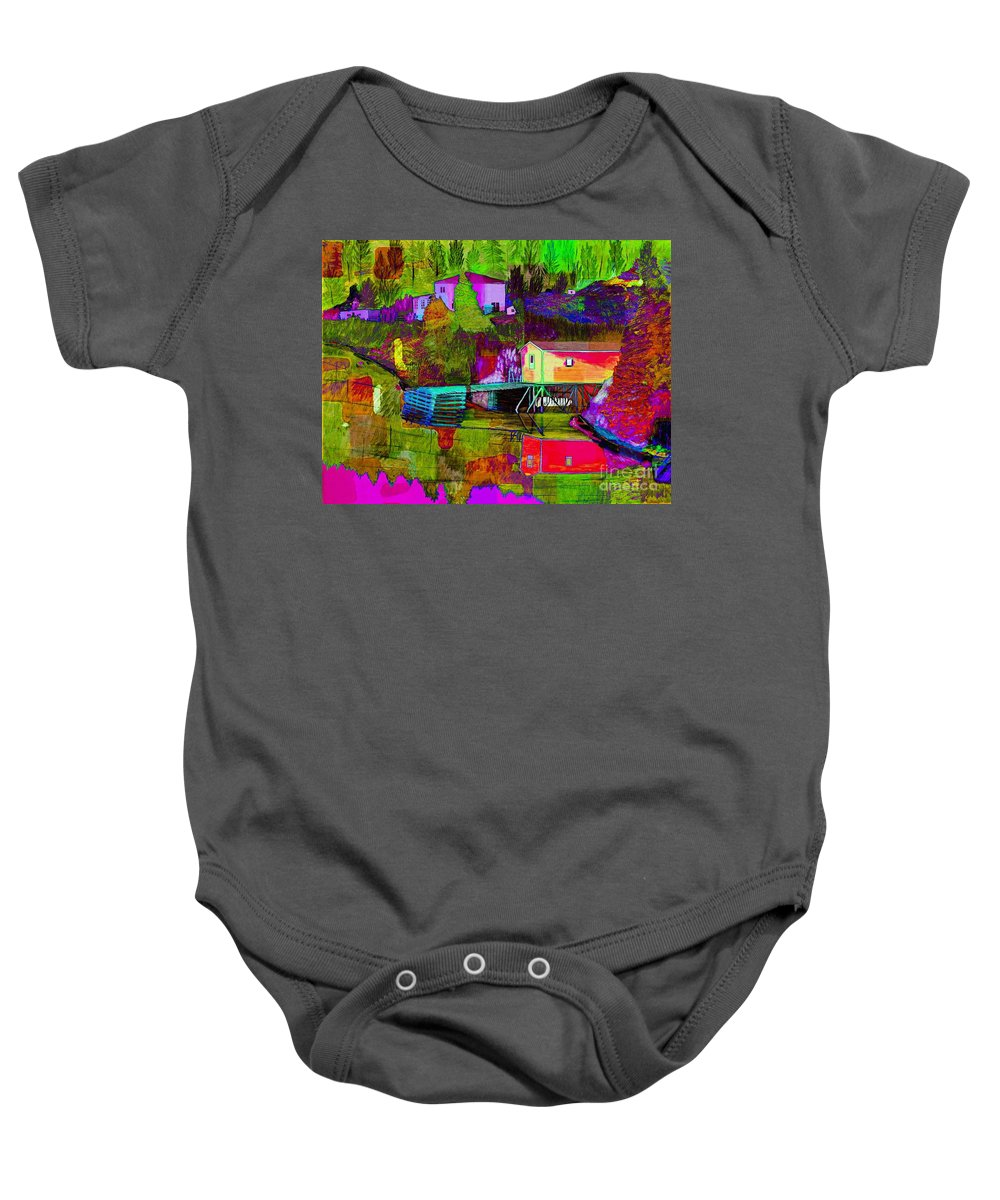 Multicolored Reflections Baby Onesie featuring the painting Multicolored Reflections by Barbara Griffin
