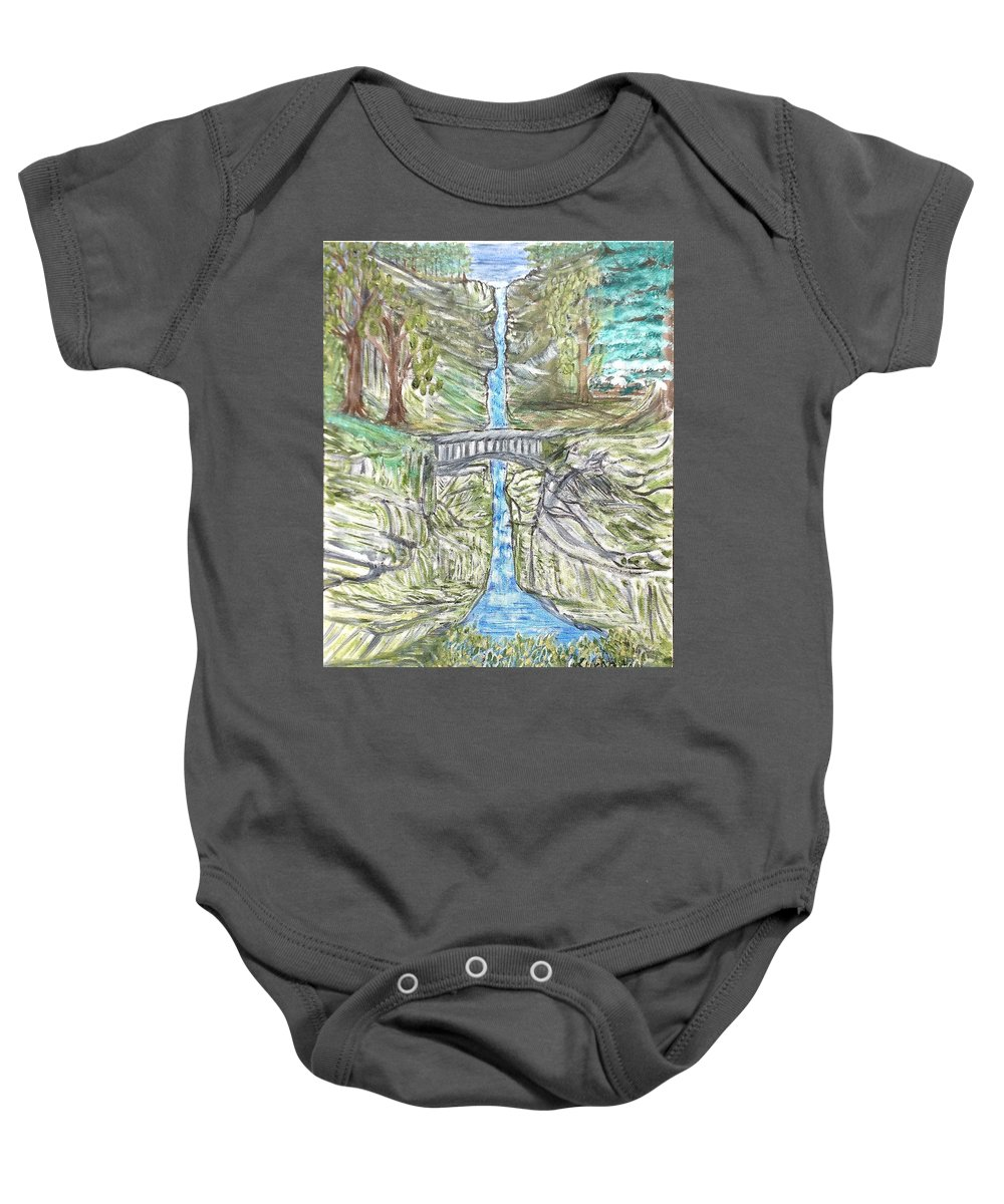 Falls Baby Onesie featuring the painting Multnomah Falls by Suzanne Surber