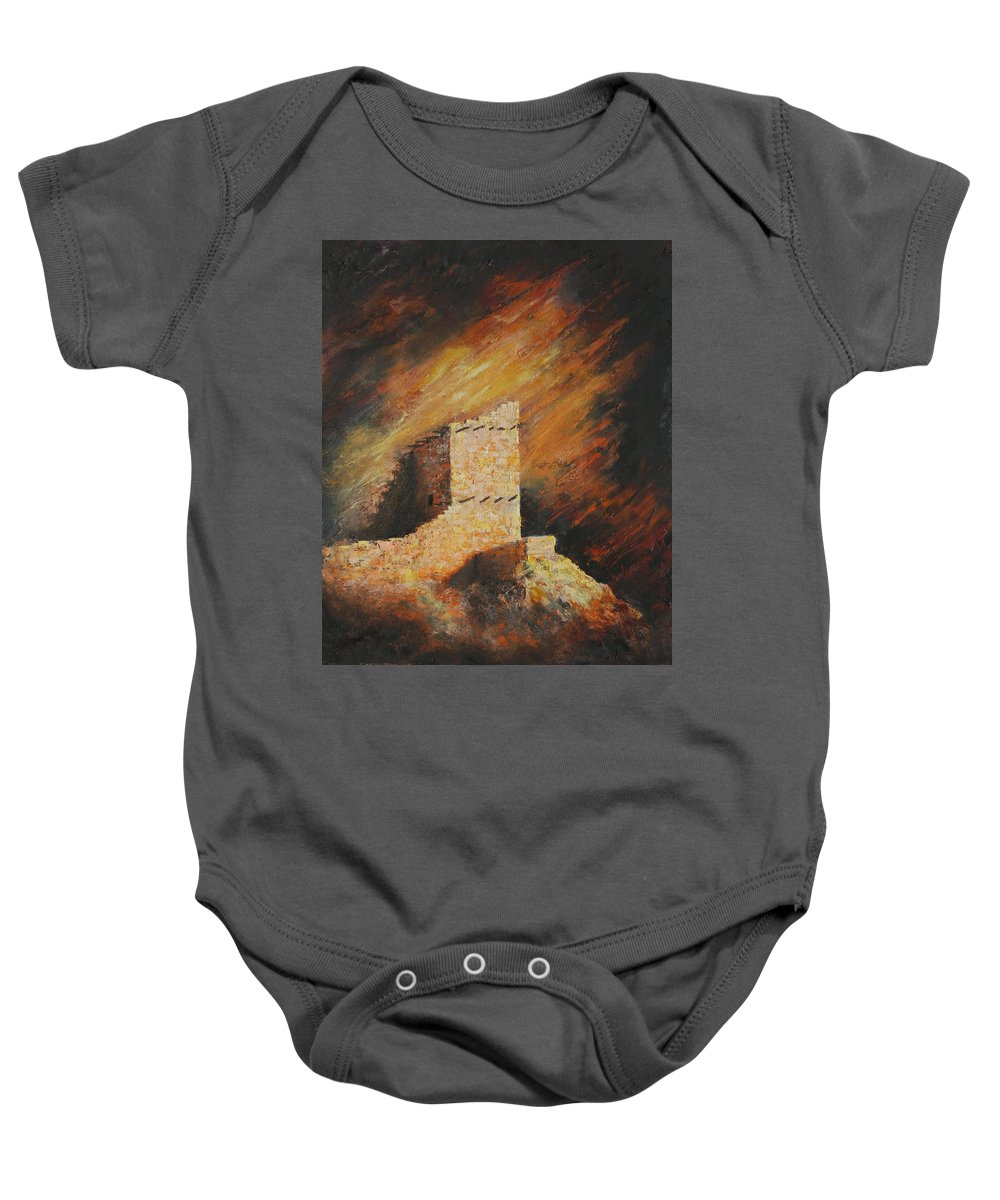 Anasazi Baby Onesie featuring the painting Mummy Cave Ruins 2 by Jerry McElroy