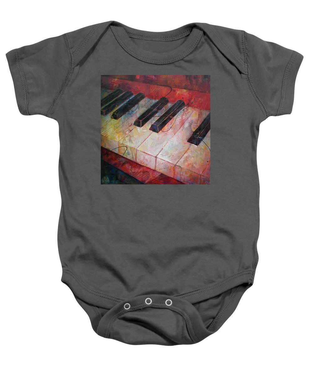 Susanne Clark Baby Onesie featuring the painting Music Is The Key - Painting Of A Keyboard by Susanne Clark