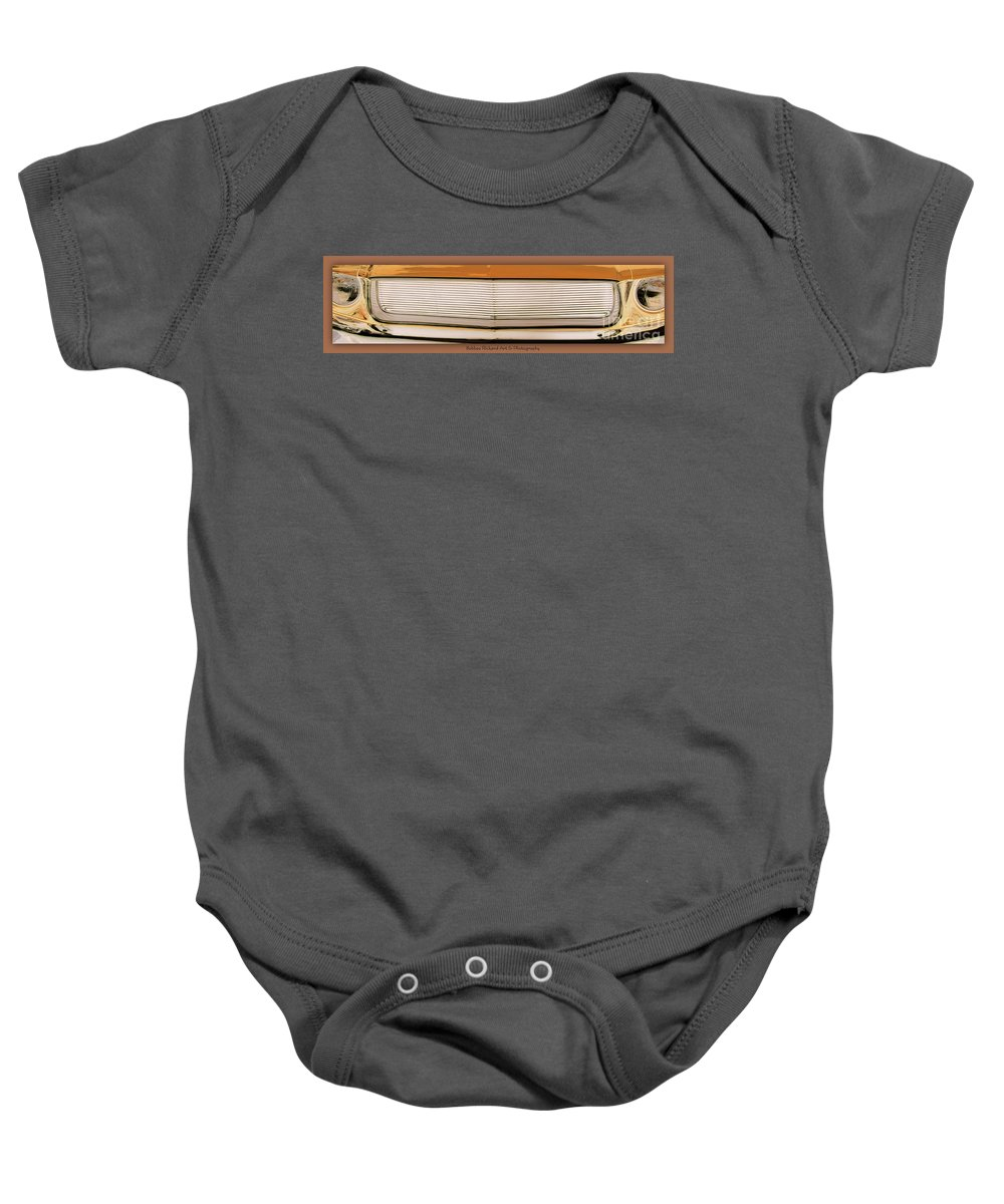 Mustang Baby Onesie featuring the photograph Mustang Grill by Bobbee Rickard