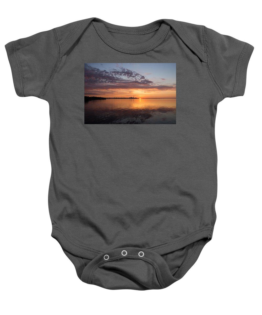 Toronto Baby Onesie featuring the photograph My World This Morning - Toronto Skyline At Sunrise by Georgia Mizuleva