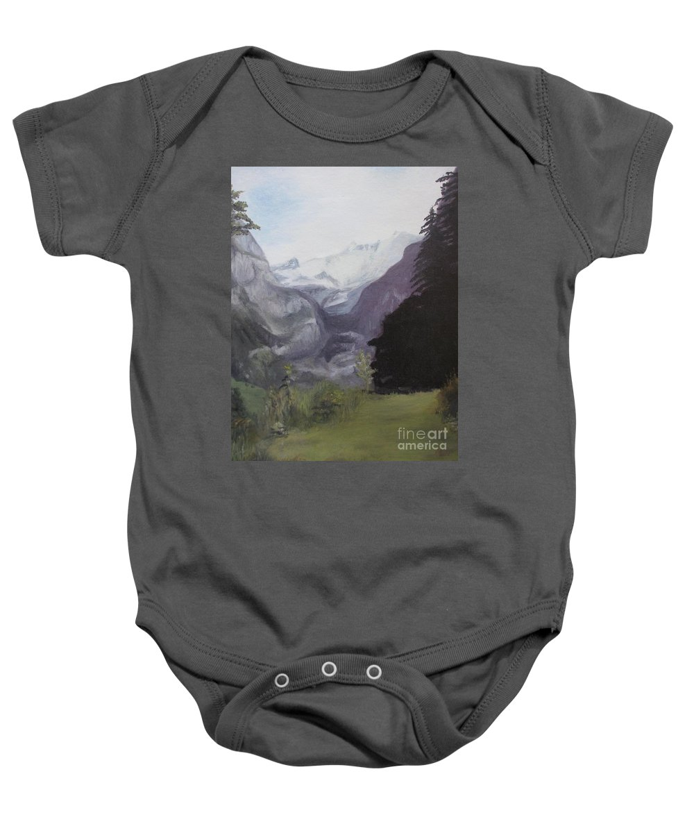Mystery Mountains Baby Onesie featuring the painting Mystery Mountains by Martin Howard