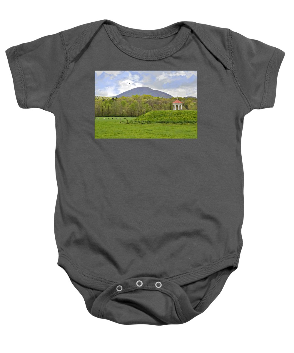 Mound Gazebo Indian Mountains Baby Onesie featuring the photograph Nacoochee Indian Mound by Susan Leggett