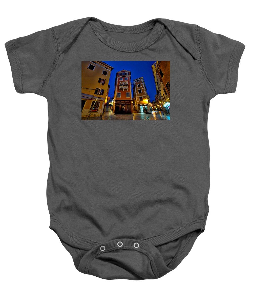 Croatia Baby Onesie featuring the photograph Narrow Streets And Buildings - Rovinj Croatia by Stuart Litoff