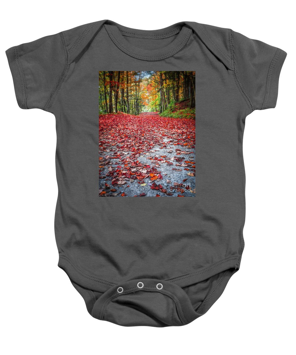 Fall Baby Onesie featuring the photograph Nature's Red Carpet by Edward Fielding