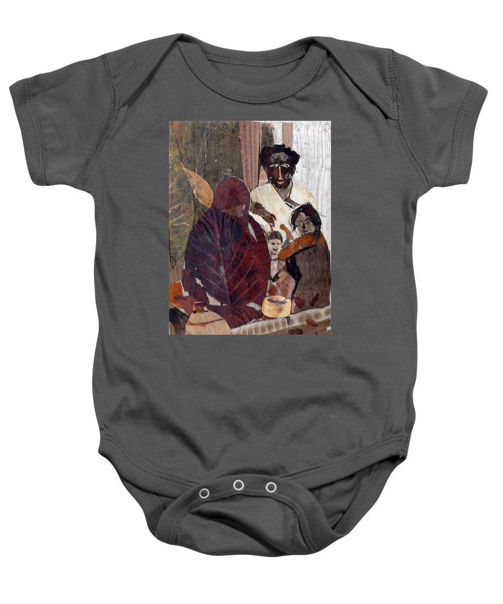 Group Portrait Baby Onesie featuring the mixed media Needy Family by Basant Soni